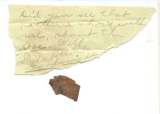 Knute's note and rose petal