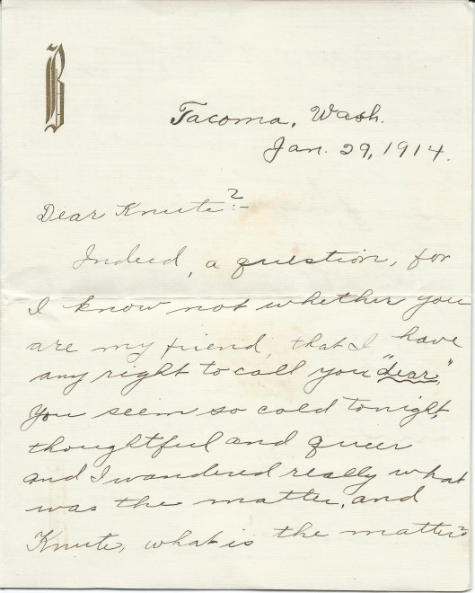 Letter from Ella to Knute Jan. 29, 1914