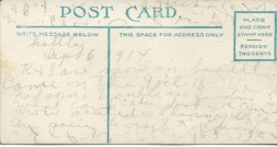 Postcard back by Ella, Sept. 6, 1914